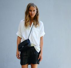 white shirt and leather