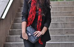 black chanel + blazer + scarf