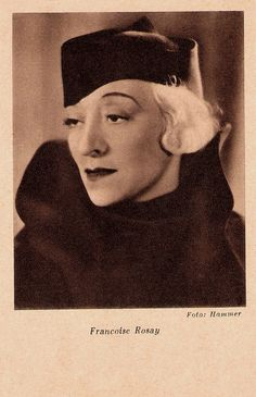 https://flic.kr/p/JCeV7U | Francoise Rosay | German postcard by Das Programm von Heute, Berlin. Photo: Hammer.  Françoise Rosay (1891-1974) was the grand old lady of French cinema. Her most famous parts were in La kermesse heroïque (1935) and Pension Mimosas (1935), both directed by her husband Jacques Feyder.  For more postcards, a bio and clips check out our blog European Film Star Postcards Already over 3 million views! Or follow us at Tumblr or Pinterest.