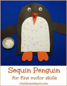 Sequin Penguin so adorable and great for fine motor skills.