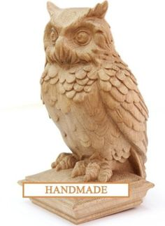 Owl - High Quality Hand-carved Top for Newel Stair Carved Wood Oak Corbels Decor Front Pillar Cottage Chic Style Animals - Tree Carving, Wood Carving Art, Wooden Owl, Wood Stairs, Hand Carved, Carved Wood, Owl Art, Wood Sculpture, Wood Crafts