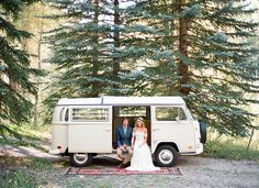 Bohemian Aspen elopement. Love this vintage VW bus!