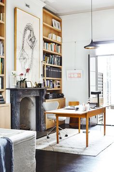 Books and a wooden desk