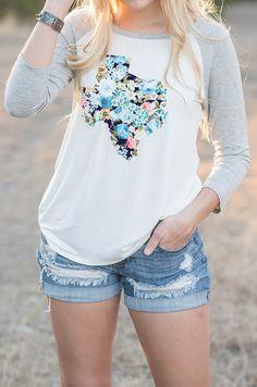 Texas Arboretum Tee • $28 • Groovys.com • floral texas tee, 3/4 sleeve t-shirt, stitched on texas