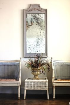Large Vintage Painted Mirror Hanging Mirror Wooden by EnvyAlley, $100.00
