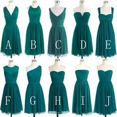 Mismatched Bridesmaid Dress,Short Bridesmaid Dress,Chiffon Bridesmaid Dress,Teal Bridesmaid Dress, BD127