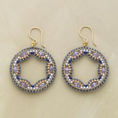 Blue quartz rondelles sparkle within lacy weavings of blue and gold Japanese glass seed beads. 14kt goldfill hoops and French wires. Hand $139.99 by SundanceCatalog