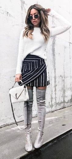 cute outfit: knit + bag + skirt + over the knee boots