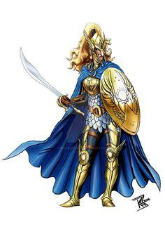 f Elf Paladin Plate Armor Shield Cloak Helm Sword midlvl by BraveSirKevin on DeviantArt Fantasy Sword, Fantasy Rpg, Medieval Fantasy, Fantasy Races, Fantasy Heroes, Fantasy Characters, Elf Sword, Half Drow, Character Art
