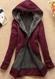 Wine Red Plain Pockets Hooded Zip Up Sweatshirt