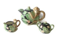 Vintage Fitz and Floyd Monkey Tea Set Teapot Sugar by RamblinRanch