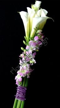 Dendrobium orchid wrapped calla stems
