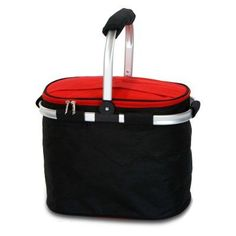 Picnic Plus Shelby Collapsible Market Tote - Black / Red - PSM-148BR