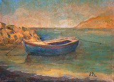 Barca a Bagnoli (Napoli Italia). Anno 1980. Dipinto dal vero. Olio su tela. Dim. cm. 30 x cm 40. Journey, Night, Day, Painting, Palms, Boats, Artists, Painting Art