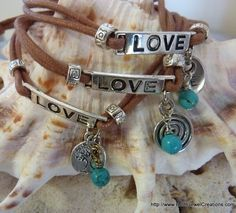 $29 - Turquoise Love Wristband - Inspirational handmade gemstone jewellery Earth Jewel Creations Australia