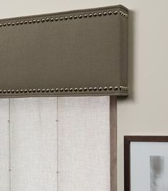 Bring a uniquely modern and industrial flair to your window treatments by adding a cornice with nailheads or a nailhead trim today. Cornice Box, Window Cornices, Cornice Boards, Window Coverings, Window Treatments, Box Valance, Drapes Curtains, Drapery, Gypsy Curtains