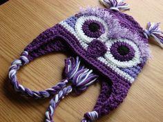 Adorable Purple Owl Hat With Ear FlapsCustom by TopsForAllTots, $20.00