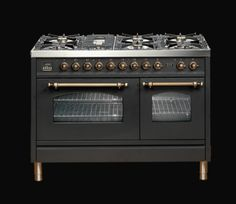 ILVE 120cm Nostalgie Double Oven in Matt Black with Brass finishes #ILVEXmas