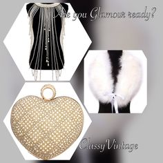 Show your glamorous side! I have stunning white or black capelets that have satin ties in front, stunning heart shaped gold tone metal handbag encrusted in faux pearls and head to toe in beautiful pearls. Some in stock and a fresh new arrival this Friday! Boutique  Accessories Scarves & Wraps