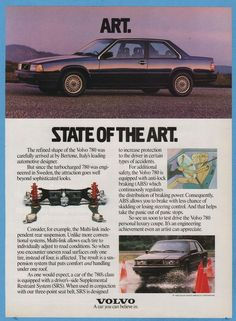 1988 Volvo 780 Bertone Coupe State of the Art Ad Vintage Car Advertisement