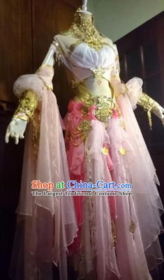 Chinese Traditional Cosplay Peri Costume Ancient Swordswoman Pink Dress for Women Pink Costume, Queen Costume, Elvish Dress, Pretty Dresses, Beautiful Dresses, Tight Prom Dresses, Dress Design Drawing, White Costumes, Fairytale Fashion