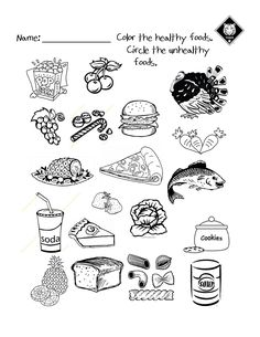 Healthy vs Unhealthy food choices worksheet.  Use it as a warm up activity while…