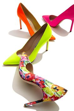 Walk on sunshine with bright and bold designs by Manolo Blahnik, featuring #SaksExclusive pumps.