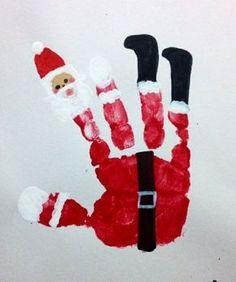 weihnachtsmann motiv handabdruck weihnachtskarte