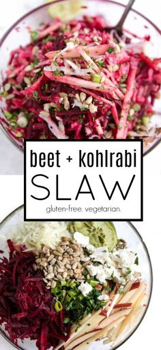 Crunchy Beet and Kohlrabi Salad Vegan Coleslaw vegan kohlrabi slaw Kohlrabi Recipes, Buffalo Chicken Pasta Salad, Chicken Salad Recipes, Beet Salad Recipes, Tuna Pasta, Shrimp Pasta, Entree Vegan, Vegetarian, Vegetarian Food