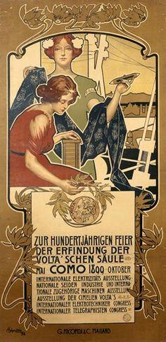 1899 Onoranze a Volta Como Italy vintage poster