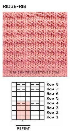 Ridge Rib stitch Free knit and purl chart Ridge Rib stitch Free knit and purl chartEasy textured Reverse Ridge Knit Stitch Pattern is reversible and super stretchy vertically. Knit Purl Stitches, Knitting Stiches, Crochet Stitches Patterns, Knitting Charts, Loom Knitting, Knitting Socks, Free Knitting, Stitch Patterns, Knitting Patterns Free