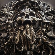 Steampunk Tendencies — Cthulhu sculpture by Cam Rackam Lovecraftian Horror, Skull And Bones, Cthulhu, Skull Art, Macabre, Occult, Dark Art, Metal Art, Sculpture Art