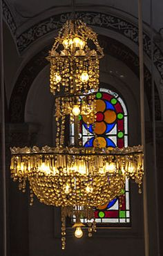 Magen David Synagogue - Painted Glass Window with Chandelier