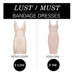 """Lust/Must: Bandage Dress"" by polyvore-editorial ❤ liked on Polyvore featuring Hervé Léger, Posh Girl and lustmust"