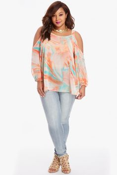 Love this top, these are my favorite colors!  Very romantic for date night!  Cold Shoulder Chiffon Top    $36.90 | Plus Size Cold Shoulder Chiffon Top | Fashion To Figure