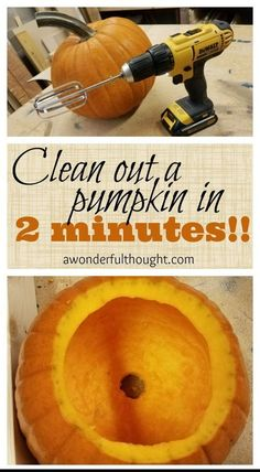 Clean out a pumpkin in 2 minutes! - A Wonderful Thought Clean out a pumpkin in 2 minutes! - A Wonderful Thought Halloween Tags, Holidays Halloween, Halloween Pumpkins, Pretty Halloween, Halloween Mural, Diy Halloween Treats, Halloween Baking, Halloween Tutorial, Halloween Scene