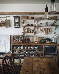 Home Decor Kitchen, Rustic Kitchen, Country Kitchen, French Kitchen Decor, Cottage Kitchens, Home Kitchens, Cottage Kitchen Interior, Small Cabin Kitchens, Home Interior