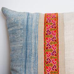 Vintage Hemp Indigo Batik Pillow from the H'mong People of Northern Vietnam.
