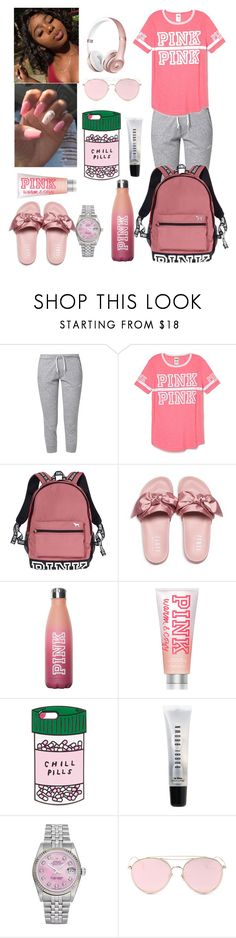 """My lazy first day of school "" by flawlessgirlty ❤ liked on Polyvore featuring NIKE, Victoria's Secret PINK, Victoria's Secret, Puma, ban.do, Bobbi Brown Cosmetics, Rolex and LMNT"