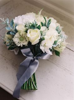 Lovely Wedding Bouquet Featuring: White Roses, White Astilbe, White/Mint Scabiosa Flowers, Other White Florals & Greenery/Foliage