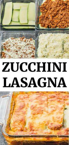Zucchini Lasagna Recipes, Vegetable Recipes, Vegetarian Recipes, Cooking Recipes, Healthy Recipes, Zucchini Bread, Zuchinni Lasagna, Zucchini Lasagna Recipe Easy, Zucchini Boats