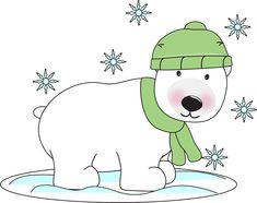 free Christmas Polar Bear Clip Art | Winter Polar Bear - winter polar bear in the snow wearing a winter cap ...