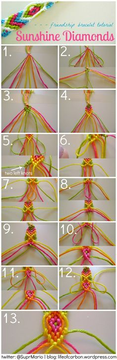 Sunshine Diamonds Friendship Bracelet Tutorial embroidery floss