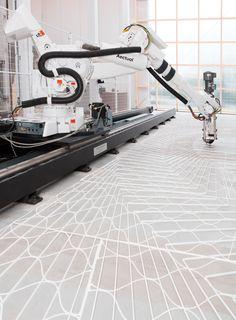 Roboter 3D Drucker geometrische Muster Bodenbelag  #robot #printers