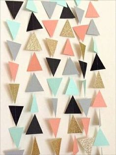 Coral Mint Gold Grey Black Geometric Triangle Garland - Baby Shower Garland, Birthday Garland, Party Decor, Nursery Garland, Tribal by LaCremeBoutique on Etsy