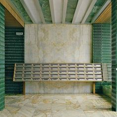 Emerald green enamelled sandstone and marble entrance designed by 📷: Beautiful Interior Design, Contemporary Interior, Modern Interior Design, Mid-century Interior, Apartment Interior, Commercial Design, Commercial Interiors, Architecture Details, Interior Architecture