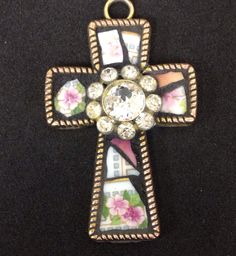 Mosaic cross by Lisa Skibenes  Vintage china, vintage jewelry