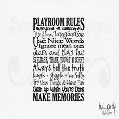 Playroom Rules Saying Vinyl Decal Wall Art Subway Art by bwordy, $30.00