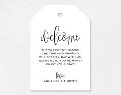 Welcome Wedding Tag Wedding Welcome Bag Tag von BlissPaperBoutique