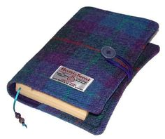 HARRIS TWEED Book Cover PURPLE Heather by WhimsyWooDesigns on Etsy, £22.50